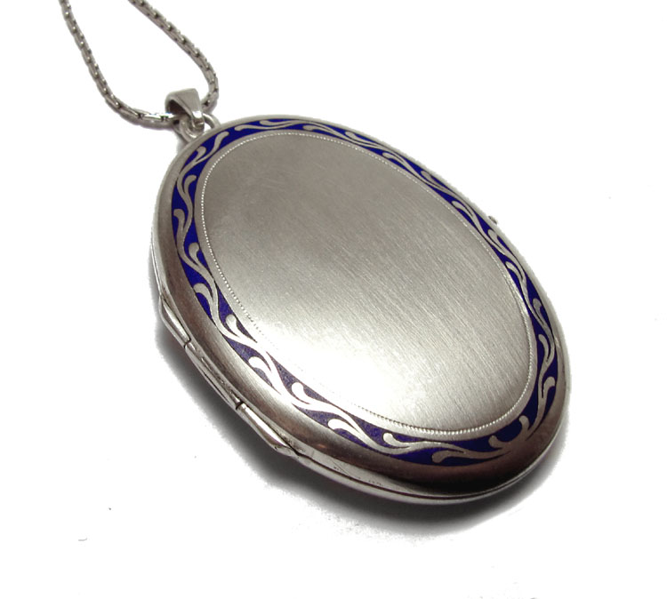 Medaillon silber  Antikes Foto-Medaillon, Silber m. blauem Emaille, um 1890 ...
